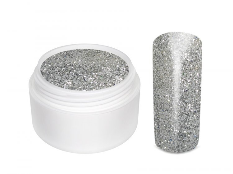 UV gel barevný glitrový Silber 5 ml | Barevné UV gely - Glitrové barevné UV gely