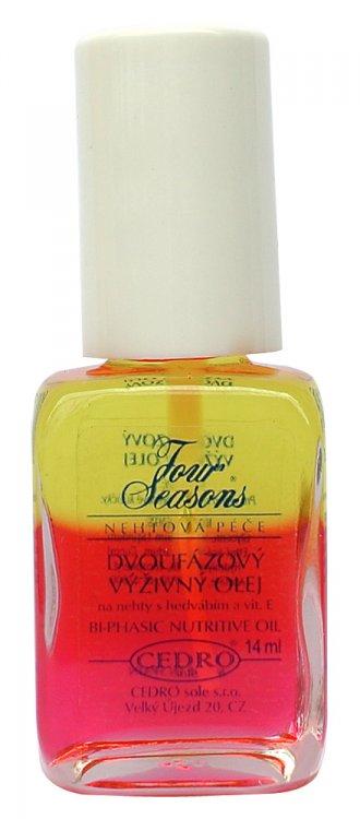 Four Seasons Dvoufázový výživný olej s hedvábím a vitamínem E 14 ml | NEHTOVÁ MODELÁŽ - Přípravky k péči o nehty a k manikúře - Přípravky k péči o nehty a k manikúře Four Seasons