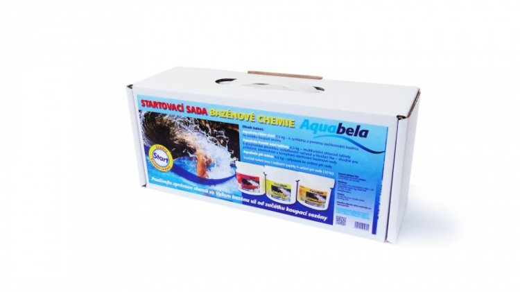 Bazénová chemie Aquabela startovací sada kompaktní krabice s uchem 1500 g | Zachlorování a dezinfekce bazénové vody - Produktová řada Aquabela