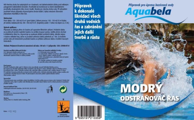 Bazénová chemie Aquabela modrý odstraňovač řas 1000 ml | Vyvločkování nečistot a odstranění řas
