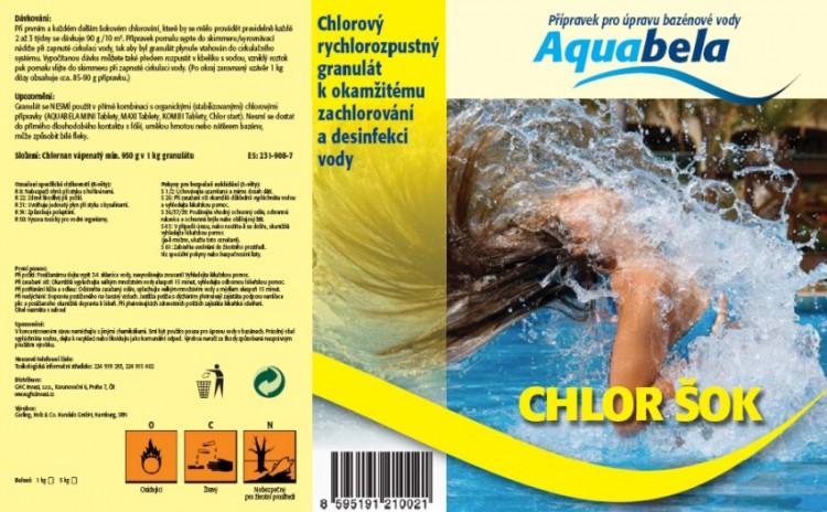 Bazénová chemie Aquabela chlor šok 1000 g | Zachlorování a dezinfekce bazénové vody - Produktová řada Aquabela