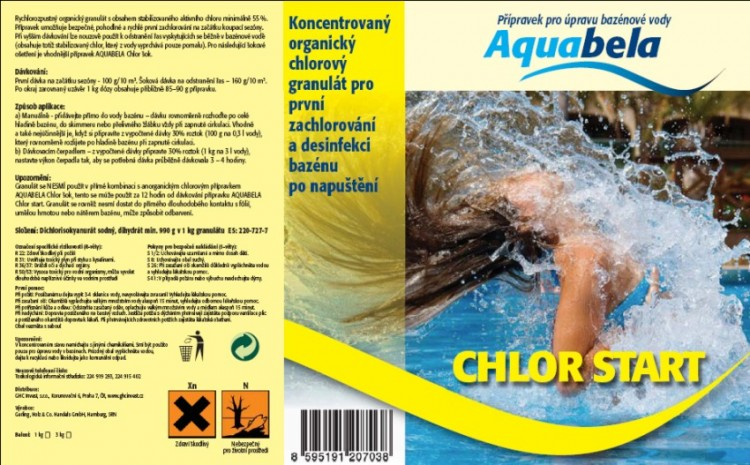 Bazénová chemie Aquabela chlor start 3000 g | Bazénová chemie - Zachlorování a dezinfekce bazénové vody - Produktová řada Aquabela