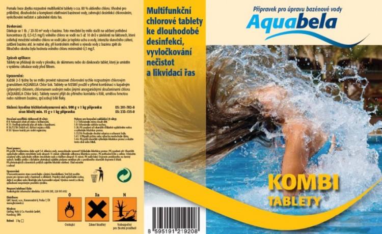 Bazénová chemie Aquabela kombi tablety 1000 g | Bazénová chemie - Zachlorování a dezinfekce bazénové vody - Produktová řada Aquabela