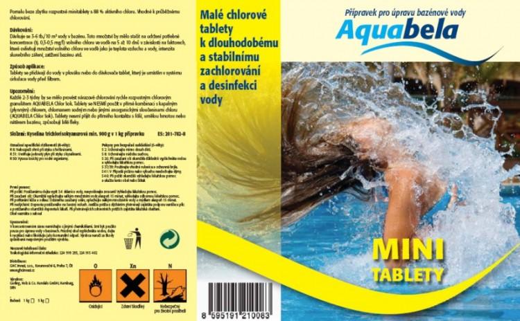 Bazénová chemie Aquabela mini tablety 1000 g | Bazénová chemie - Zachlorování a dezinfekce bazénové vody - Produktová řada Aquabela