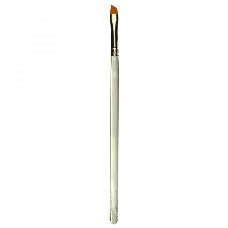 Štětec na nehty velikost 4 plochý šikmý bezešvá stříbrná zděř průhledné akrylové držátko vlas syntetický | Štětce pro nehtovou modeláž a zdobení - Štětce pro nehtovou modeláž - ploché šikmé