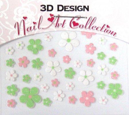 Zdobící nálepky na nehty 3D mini 24908 | Zdobící nálepky a obtisky na nehty - Zdobící nálepky na nehty 3D mini - samolepící