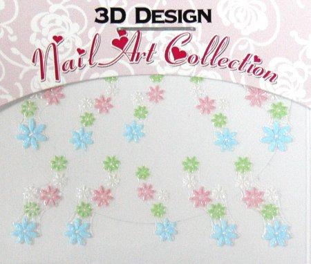 Zdobící nálepky na nehty 3D mini 24911 | Zdobící nálepky a obtisky na nehty - Zdobící nálepky na nehty 3D mini - samolepící