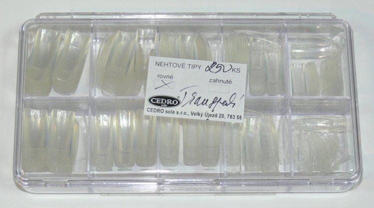Nehtové tipy Cedro BOX 250 ks transparentní | NEHTOVÁ MODELÁŽ - Nehtové tipy pro nehtovou modeláž - Nehtové tipy - boxy CEDRO