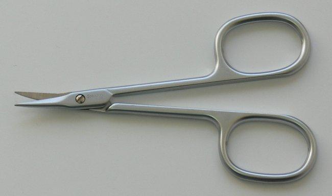 Nůžky na kůži PL 421C matné zahnuté úzké Premium Line Solingen 9 cm | Kleště a nůžky na nehty a kůži pro manikúru a pedikúru, pinzety, pilníky, atd. - Nůžky na nehty a kůži pro manikúru a pedikúru