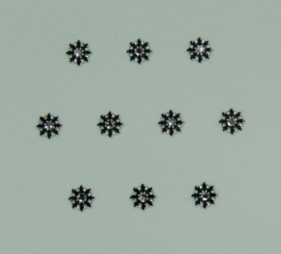 Samolepící nálepky na nehty 24071 - černé s kamínkem | Zdobící nálepky a obtisky na nehty - Zdobící nálepky na nehty 3D s kamínky, černé - samolepící