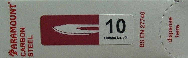 PARAMOUNT Čepelka skalpelová sterilní karbonová tvar 10 | Kleště a nůžky na nehty a kůži pro manikúru a pedikúru, pinzety, pilníky, atd. - Skalpelové čepelky karbonové, držátka čepelek