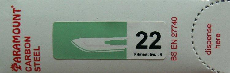 PARAMOUNT Čepelka skalpelová sterilní karbonová tvar 22 | Kleště a nůžky na nehty a kůži pro manikúru a pedikúru, pinzety, pilníky, atd. - Skalpelové čepelky karbonové, držátka čepelek
