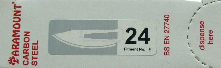 PARAMOUNT Čepelka skalpelová sterilní karbonová tvar 24 | Kleště a nůžky na nehty a kůži pro manikúru a pedikúru, pinzety, pilníky, atd. - Skalpelové čepelky karbonové, držátka čepelek