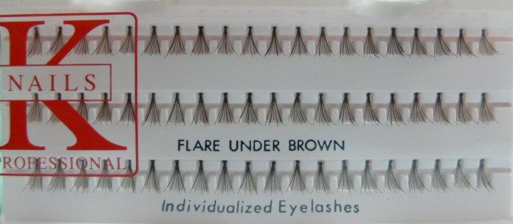 Trsy Flare Under Brown 60 ks K nails | NEHTOVÁ MODELÁŽ - Umělé řasy a trsy - Řasy trsové K-nails