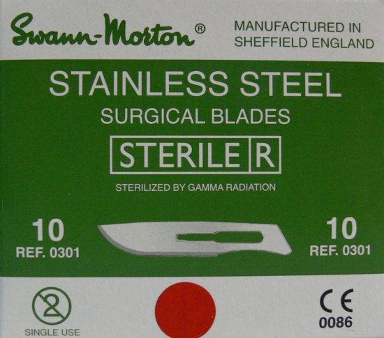 SWANN MORTON Čepelka skalpelová sterilní nerezová tvar 10 | Kleště a nůžky na nehty a kůži pro manikúru a pedikúru, pinzety, pilníky, atd. - Skalpelové čepelky nerezové, držátka čepelek