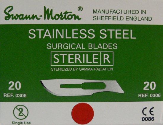 SWANN MORTON Čepelka skalpelová sterilní nerezová tvar 20 | Kleště a nůžky na nehty a kůži pro manikúru a pedikúru, pinzety, pilníky, atd. - Skalpelové čepelky nerezové, držátka čepelek