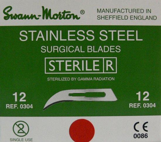 SWANN MORTON Čepelka skalpelová sterilní nerezová tvar 12 | Kleště a nůžky na nehty a kůži pro manikúru a pedikúru, pinzety, pilníky, atd. - Skalpelové čepelky nerezové, držátka čepelek