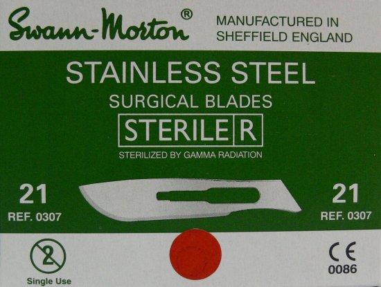 SVANN MORTON Čepelka skalpelová sterilní nerezová tvar 21 | Kleště a nůžky na nehty a kůži pro manikúru a pedikúru, pinzety, pilníky, atd. - Skalpelové čepelky nerezové, držátka čepelek