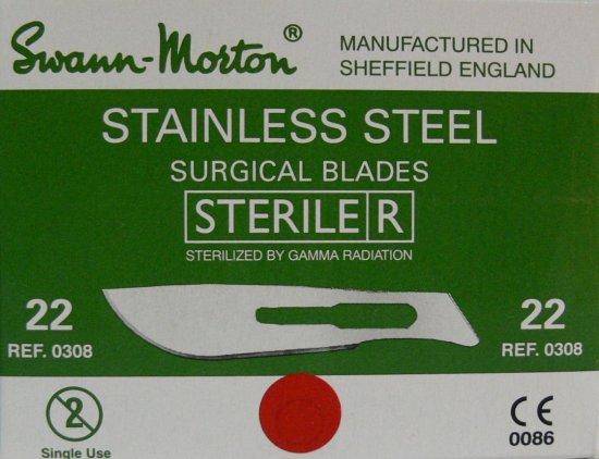 SWANN MORTON Čepelka skalpelová sterilní nerezová tvar 22 | Kleště a nůžky na nehty a kůži pro manikúru a pedikúru, pinzety, pilníky, atd. - Skalpelové čepelky nerezové, držátka čepelek