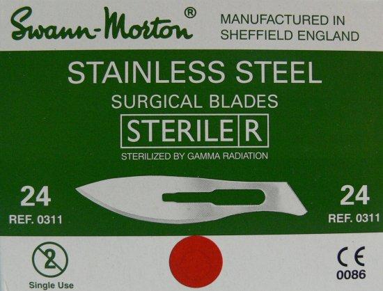 SWANN MORTON Čepelka skalpelová sterilní nerezová tvar 24 | Kleště a nůžky na nehty a kůži pro manikúru a pedikúru, pinzety, pilníky, atd. - Skalpelové čepelky nerezové, držátka čepelek