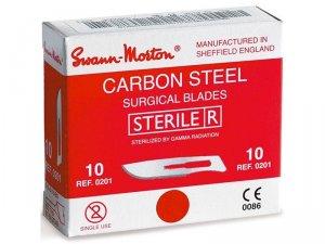 SWANN MORTON Čepelka skalpelová sterilní karbonová tvar 20    NEHTOVÁ MODELÁŽ - Kleště a nůžky na nehty a kůži pro manikúru a pedikúru, pinzety, pilníky, atd. - Skalpelové čepelky karbonové, držátka čepelek