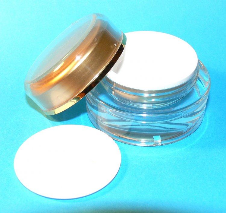 Dóza kosmetická 15 ml dvouplášťová vč. těsnící plastové vložky a zlatého víčka  | NEHTOVÁ MODELÁŽ - Obalový materiál