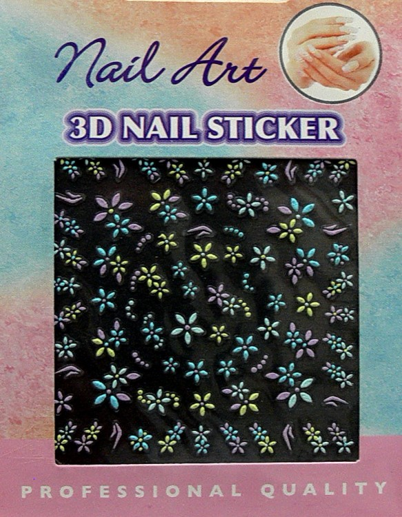 Nálepky 3D na nehty barevné 24886 | Zdobící nálepky a obtisky na nehty - Zdobící nálepky na nehty 3D colours - samolepící