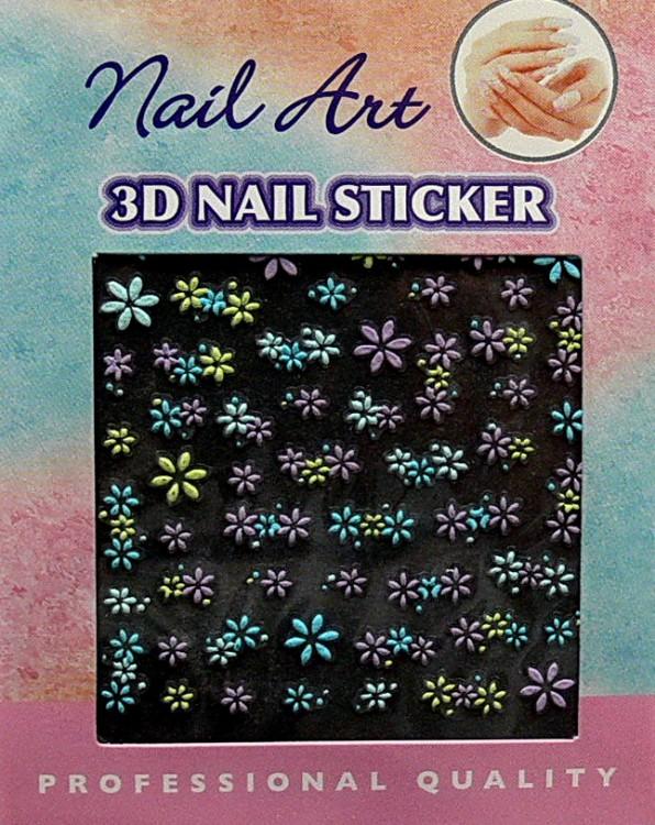 Nálepky 3D na nehty barevné 24889 | Zdobící nálepky a obtisky na nehty - Zdobící nálepky na nehty 3D colours - samolepící
