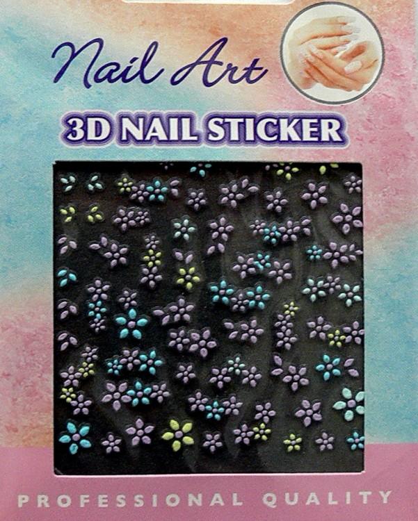 Nálepky 3D na nehty barevné 24890 | Zdobící nálepky a obtisky na nehty - Zdobící nálepky na nehty 3D colours - samolepící
