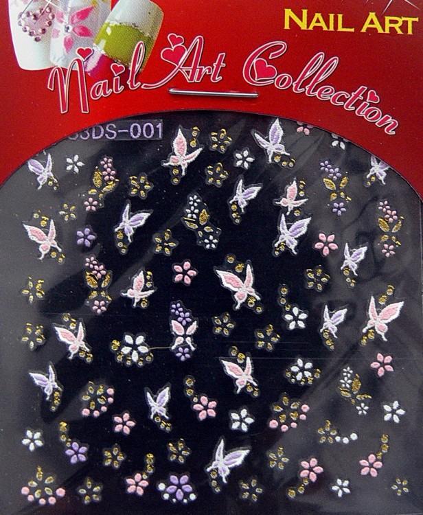 Samolepící nálepky na nehty - motýlci a květy S3DW13 | Zdobící nálepky a obtisky na nehty - Zdobící nálepky na nehty 3D motýlci - samolepící
