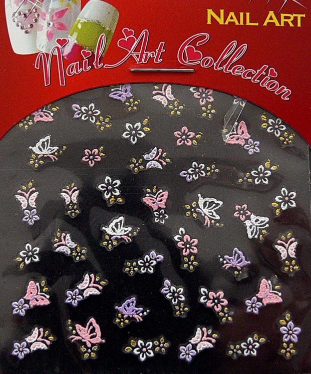 Samolepící nálepky na nehty - motýlci a květy S3DW14 | Zdobící nálepky a obtisky na nehty - Zdobící nálepky na nehty 3D motýlci - samolepící
