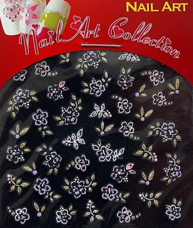 Samolepící nálepky na nehty - motýlci a květy S3DW15 | Zdobící nálepky a obtisky na nehty - Zdobící nálepky na nehty 3D motýlci - samolepící