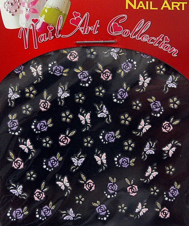 Samolepící nálepky na nehty - motýlci a květy S3DW17 | Zdobící nálepky a obtisky na nehty - Zdobící nálepky na nehty 3D motýlci - samolepící