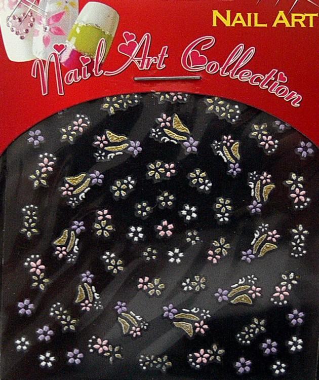 Samolepící nálepky na nehty - motýlci a květy S3DW24 | NEHTOVÁ MODELÁŽ - Zdobící nálepky a obtisky na nehty - Zdobící nálepky na nehty 3D motýlci - samolepící
