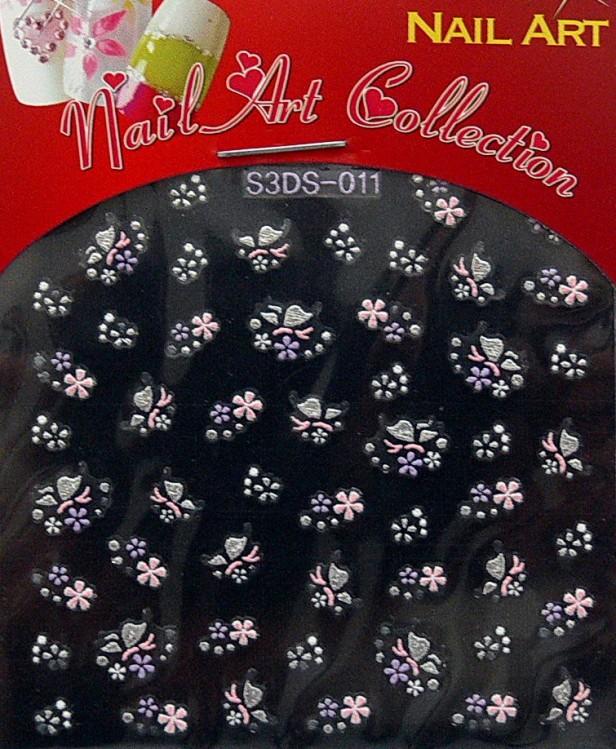 Samolepící nálepky na nehty - motýlci a květy S3DW11 | Zdobící nálepky a obtisky na nehty - Zdobící nálepky na nehty 3D motýlci - samolepící