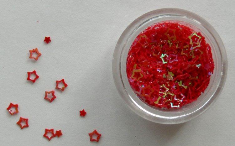 Holografické hvězdičky na zdobení nehtů červené | NEHTOVÁ MODELÁŽ - Nail Art, zdobící materiály - Holografická srdíčka a hvězdičky na zdobení
